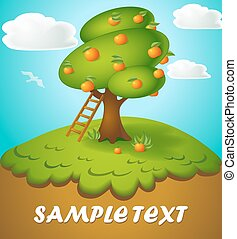 Vector cartoon illustration of a tree with apples in a fun style drawn on top of the hill and sky with cloud