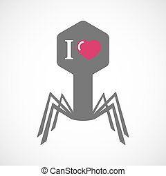 "Isolated virus icon with  an "" I like"" glyph"