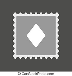 Isolated mail stamp icon with the diamond poker playing card...