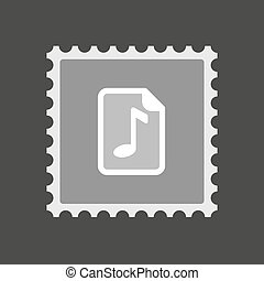Isolated mail stamp icon with a music score icon -...
