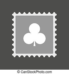 Isolated mail stamp icon with the Club poker playing card...