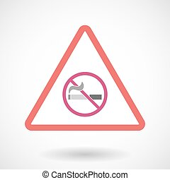 Isolated warning sign icon with a no smoking sign -...