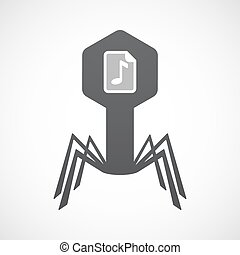 Isolated virus icon with a music score icon - Illustration...