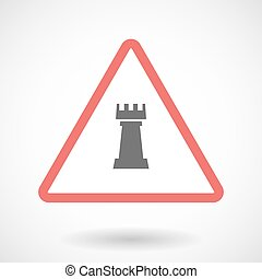 Isolated warning sign icon with a rook chess figure -...