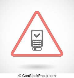Isolated warning sign icon with a dataphone icon -...
