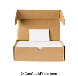 box of business cards with a blank one good for text & logo stands on top on white  including clipping path