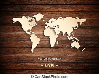3D World Map On A Wooden Background