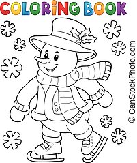 Coloring book skating snowman illustration.