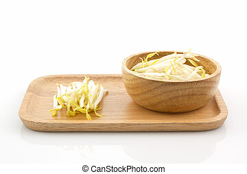 Bean sprout in the in wooden plate. - Bean sprout in the in...