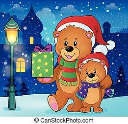 Christmas bears theme image illustration.