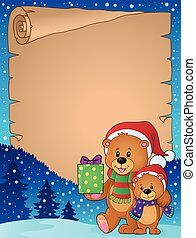 Parchment with Christmas bears theme illustration.