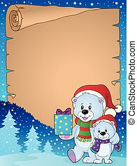 Parchment with Christmas bears illustration.