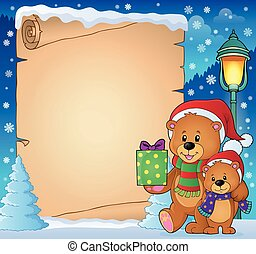 Parchment with Christmas bears theme 3 - eps10 vector...