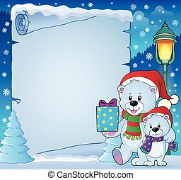 Parchment with Christmas bears theme 4 - eps10 vector...