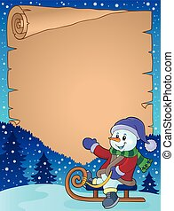 Parchment with snowman on sledge - eps10 vector...