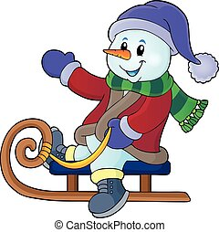 Snowman on sledge theme image illustration.