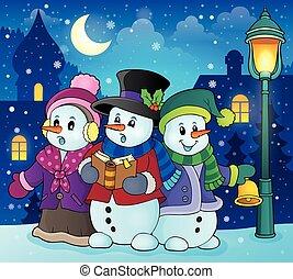 Snowmen carol singers theme image 2 - eps10 vector...