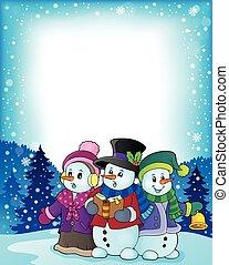 Snowmen carol singers theme illustration.