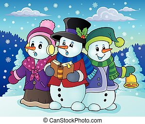 Snowmen carol singers  illustration.