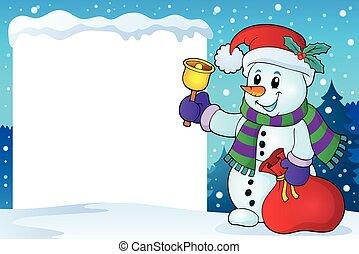 Snowy frame with Christmas snowman 1 - eps10 vector...