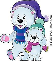 Stylized polar bears theme illustration.