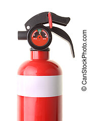 Red fire extinguisher isolated on white background