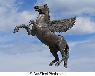 pegasus - staue representing pegasus, riding through the...