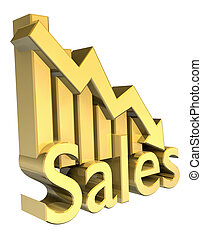 Sales statistics graphic in gold
