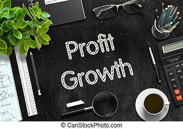 Black Chalkboard with Profit Growth Concept. 3D Rendering. -...