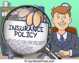Insurance Policy through Magnifier. Doodle Style. -...