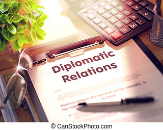Clipboard with Diplomatic Relations Concept. 3D. - Business...