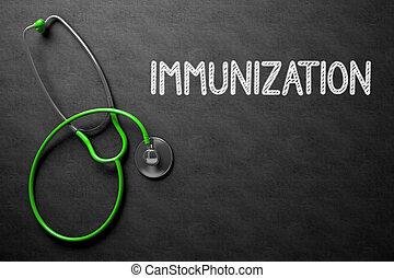 chalkboard, com, imunização, conceito, 3D, Ilustração