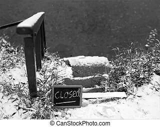 Foot Path Closed - Slippery covered with ice and snow foot...