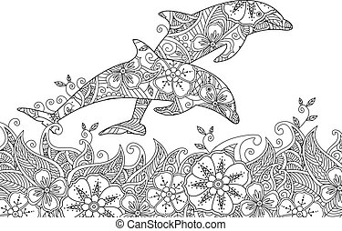 Coloring page with pair of jumping dolphins in the sea....
