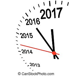 new year 2017 clock - three dimensional clock showing New...