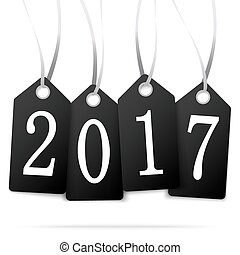 hang tags with year 2017 - black colored hang tags with...