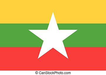 Official vector flag of Myanmar . Republic of the Union of...