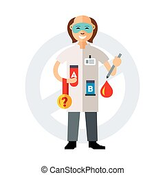 Doping test. Flat style colorful Vector Cartoon...