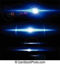 Realistic light glare sparkle, highlight set. Collection of beautiful bright lens flares. Lighting effects of flash.