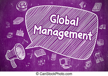 Global Management - Business Concept. - Shouting Megaphone...