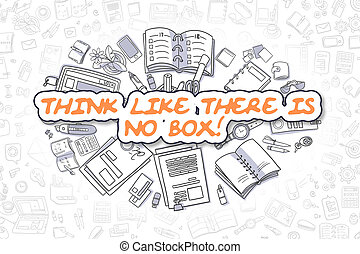Think Like There Is No Box - Business Concept. - Cartoon...