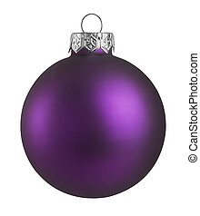 Purple christmas ball isolated on white background