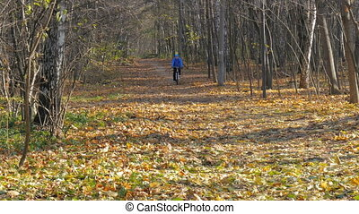 Sportsman riding in the park along the paths. - Sportsman...