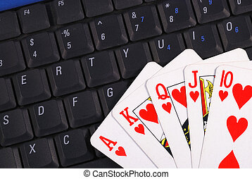 Online gambling - Play cards on a keyboard concepts of...