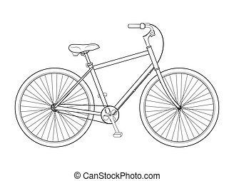 Bicycle concept - Line drawing bicycle on white background