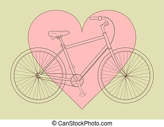 Bicycle concept - Line drawing bicycle with pink heart on...
