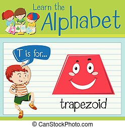 trapezoide,  T, carta,  flashcard