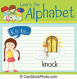 Flashcard alphabet K is for knock illustration