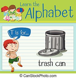 Flashcard alphabet T is for trashcan illustration