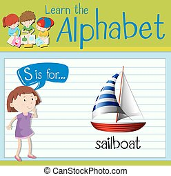 Flashcard alphabet S is for sailboat